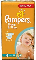 Подгузники Pampers (Памперсы) Sleep Play Maxi 4 (7-14 кг.), 68 шт.